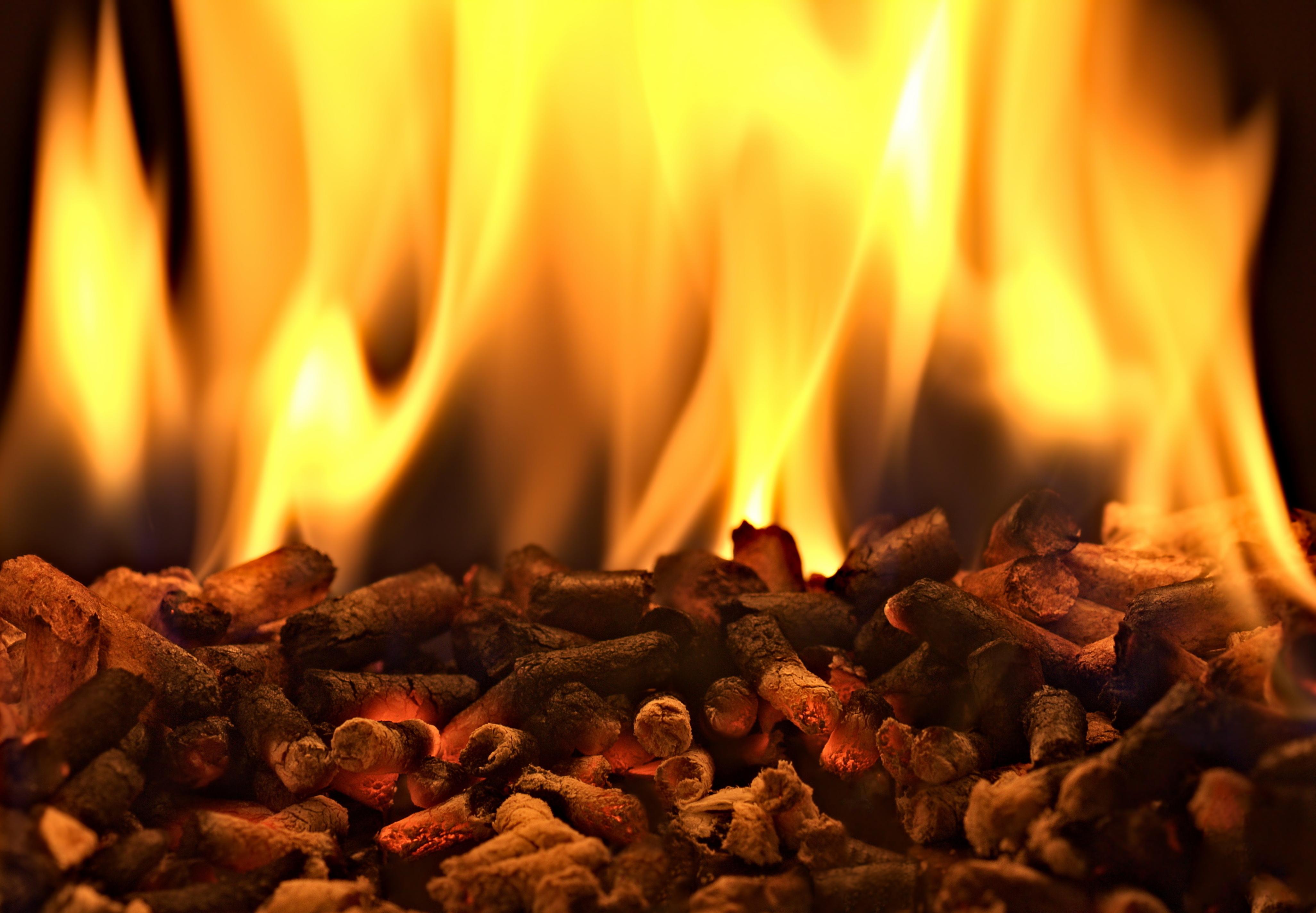 Pellet di legno e fuoco
